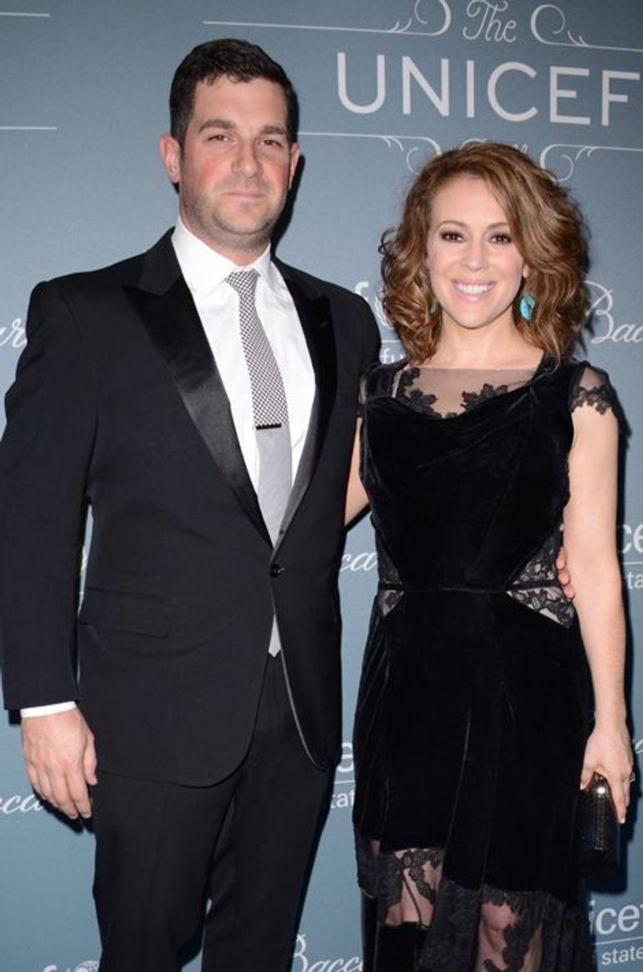 Alyssa Milano et son mari David Bugliari à Los Angeles, le 14 janvier 2014.