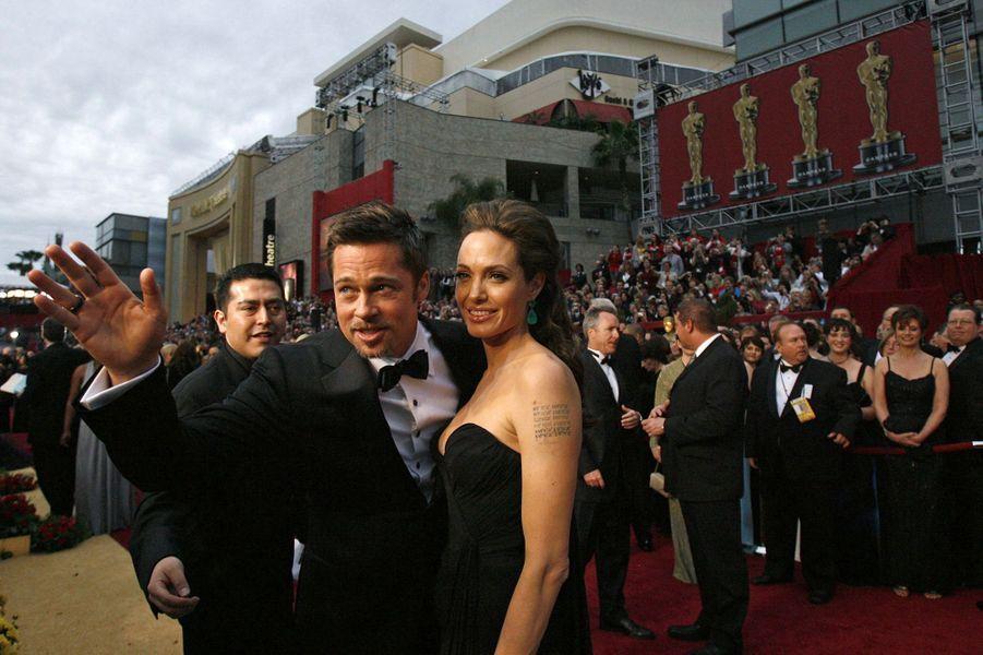 Angelina Jolie et Brad Pitt à la soirée des Oscars en 2009.