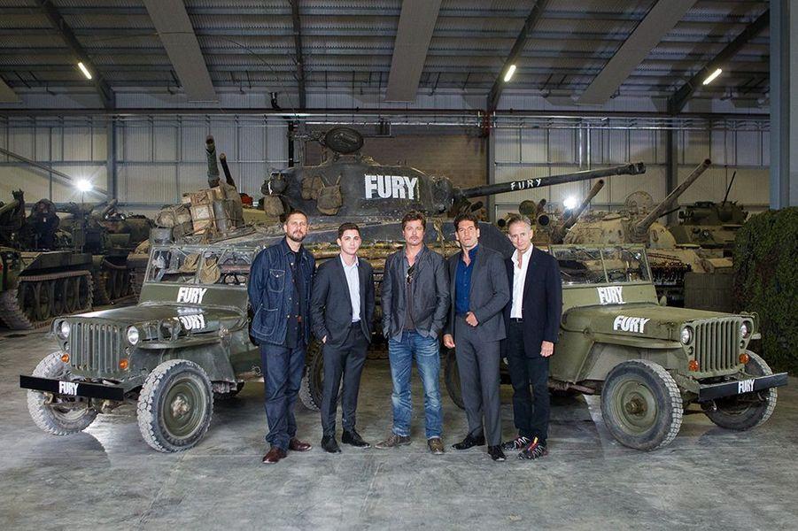 Brad Pitt lors d'un photocall au Tank Museum, à Bovington, le 28 août 2014