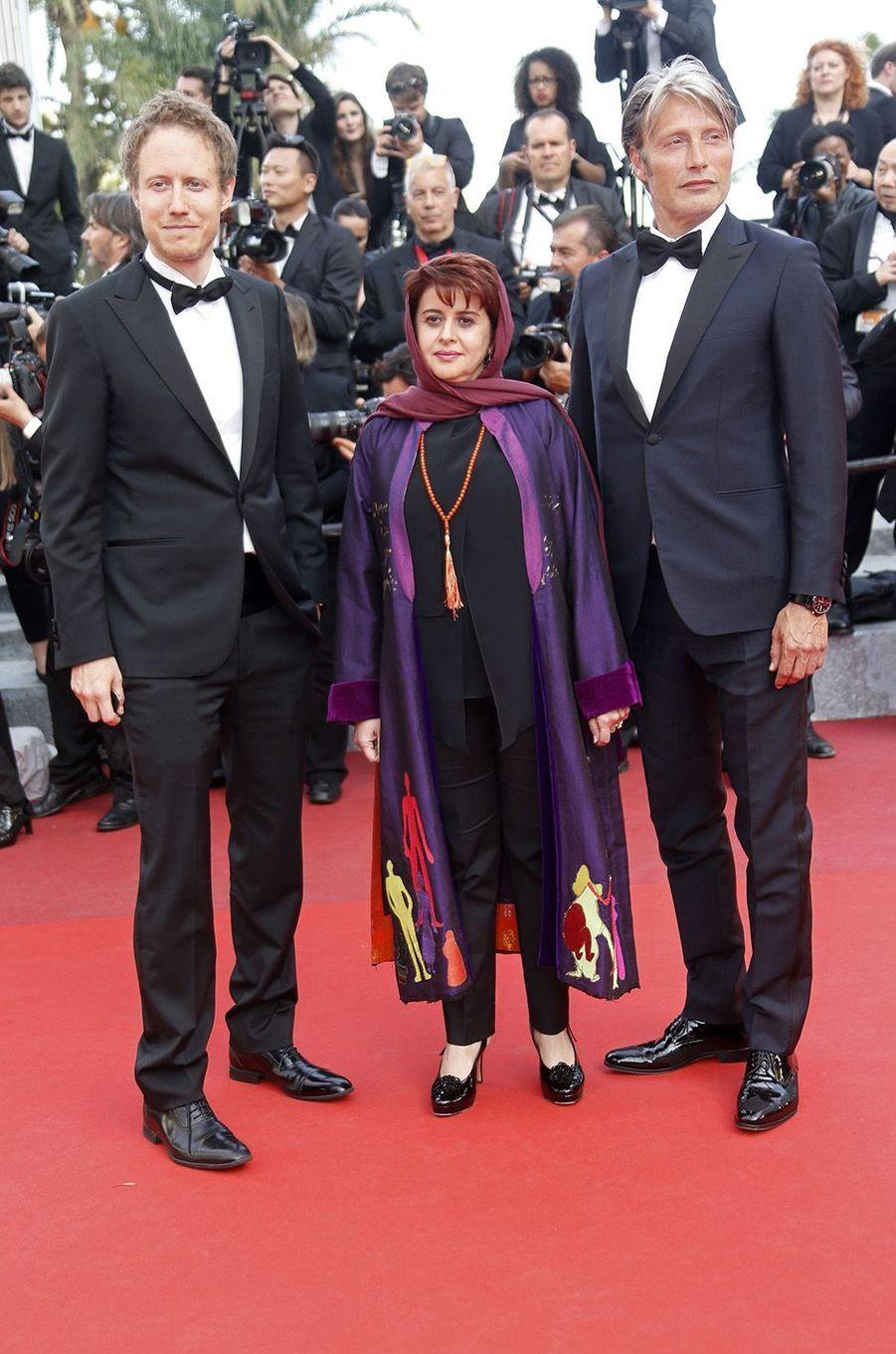 Laszlo Nemes, Katayoon Shahabi et Mads Mikkelsen à Cannes, le 16 mai 2016