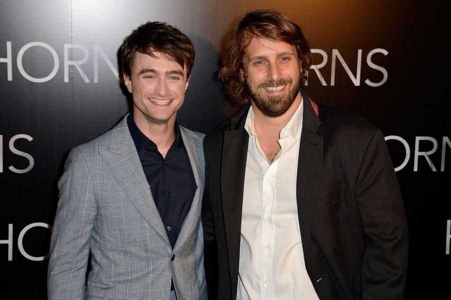 Daniel Radcliffe et Alexandre Aja à la première de «Horns» au cinéma Gaumont Marignan à Paris, le 14 septembre 2014.