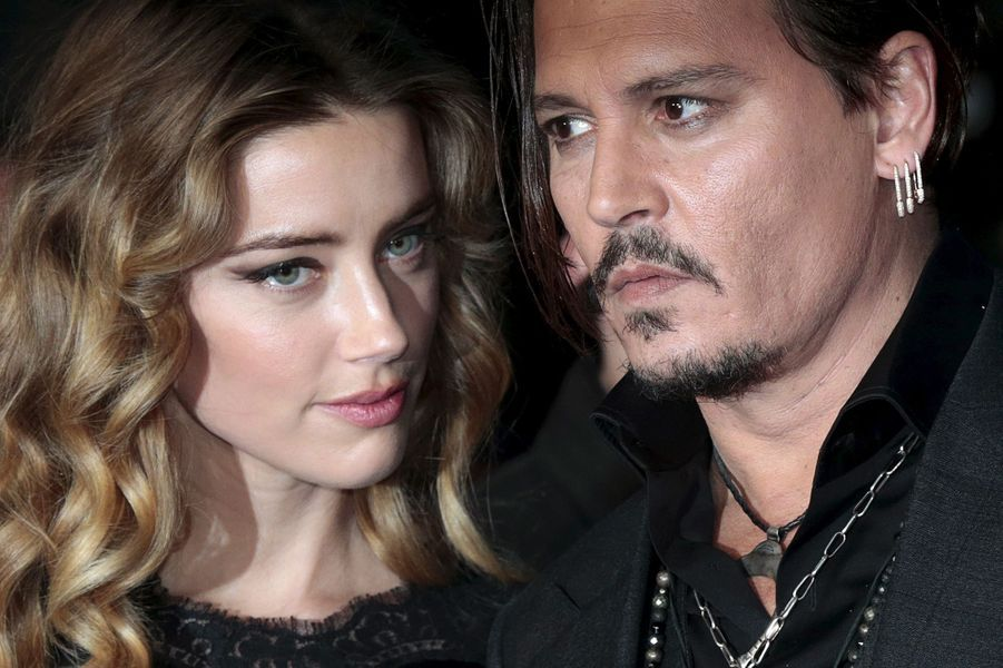 Amber Heard et Johnny Depp à Londres, en octobre 2015