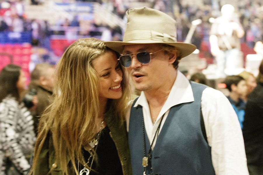 Amber Heard et Johnny Depp au Texas, en mars 2014