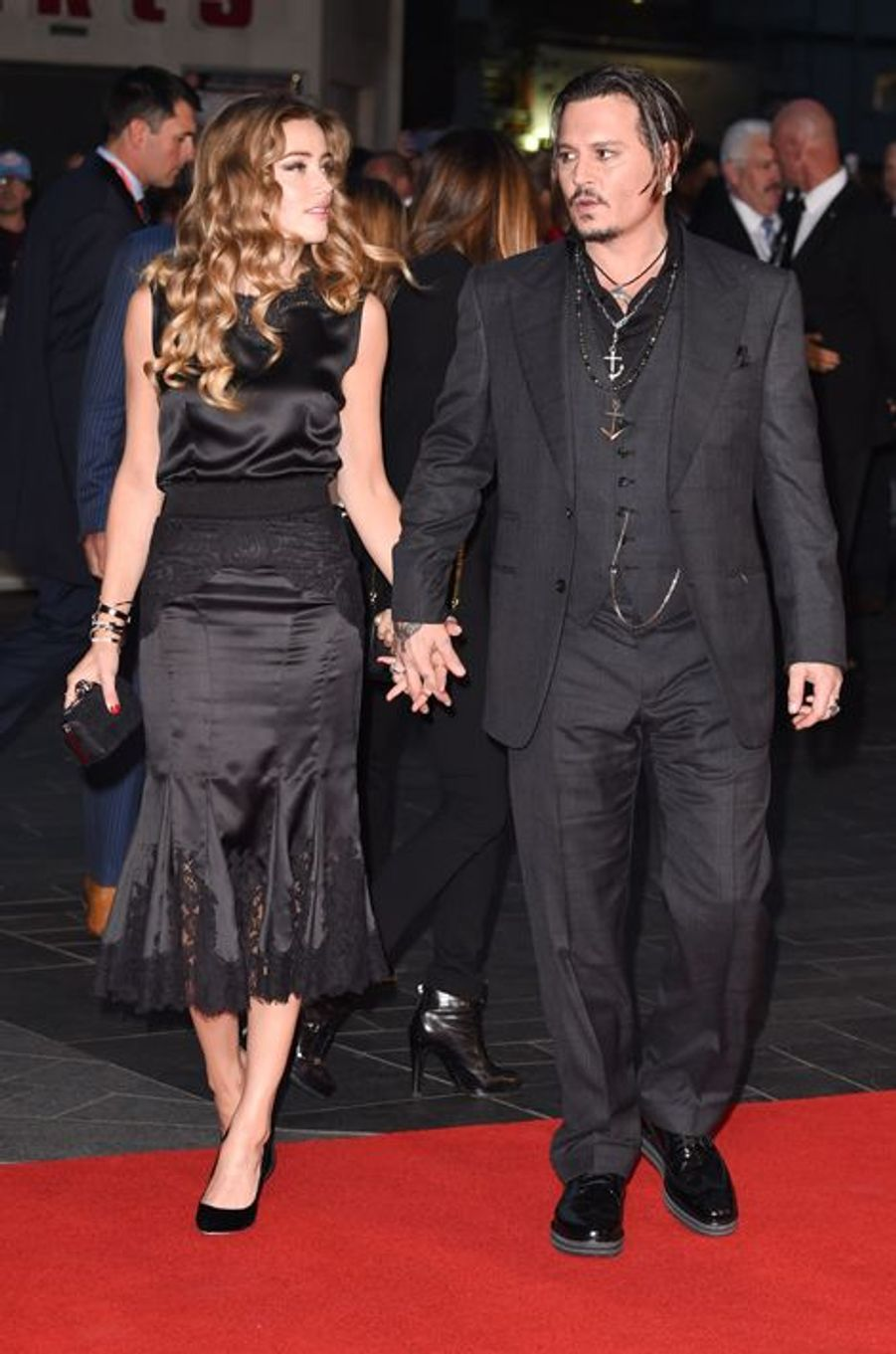 Amber Heard et Johnny Depp à Londres le 11 octobre 2015
