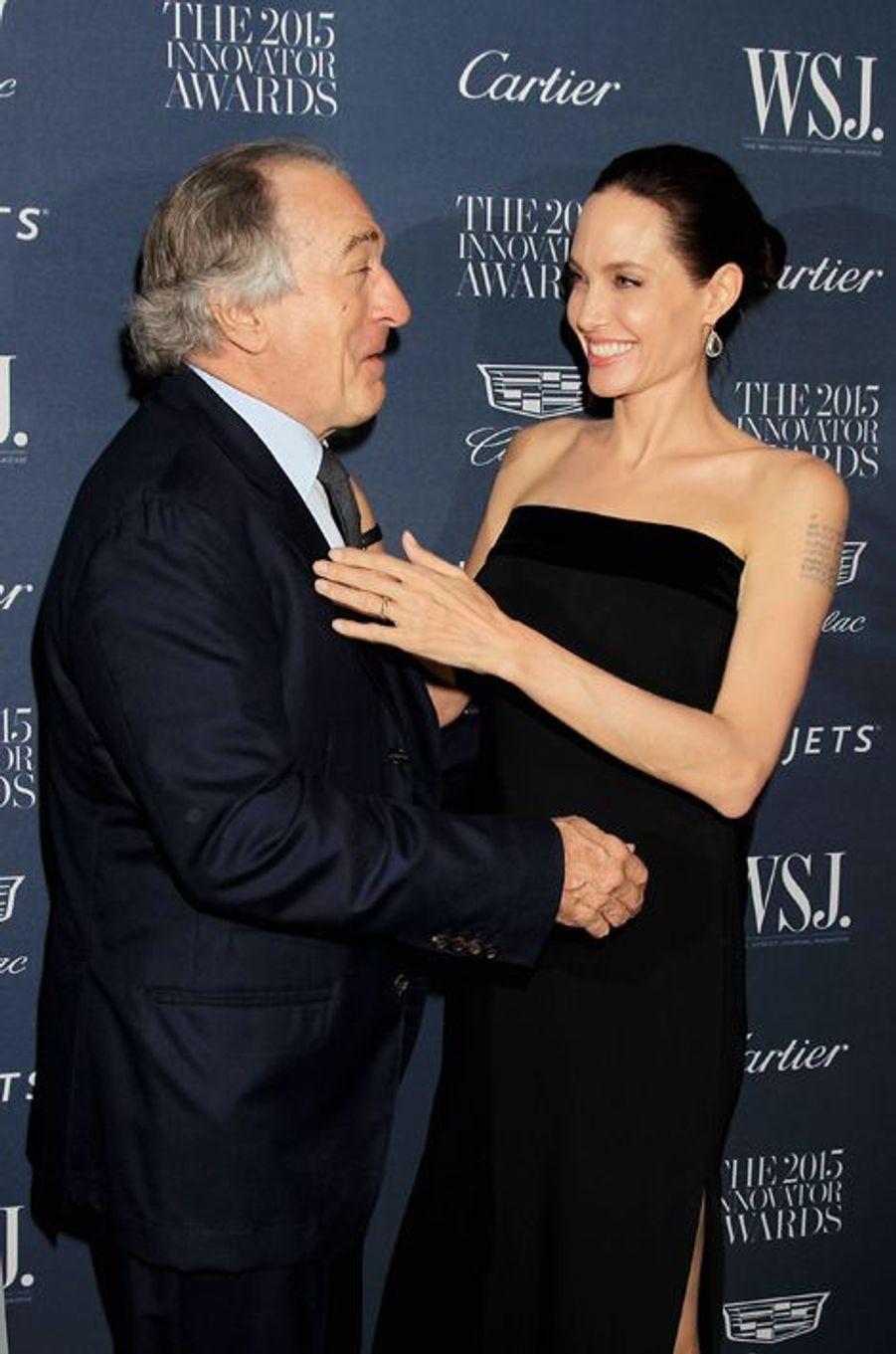 Robert De Niro et Angelina Jolie à New York le 4 novembre 2015