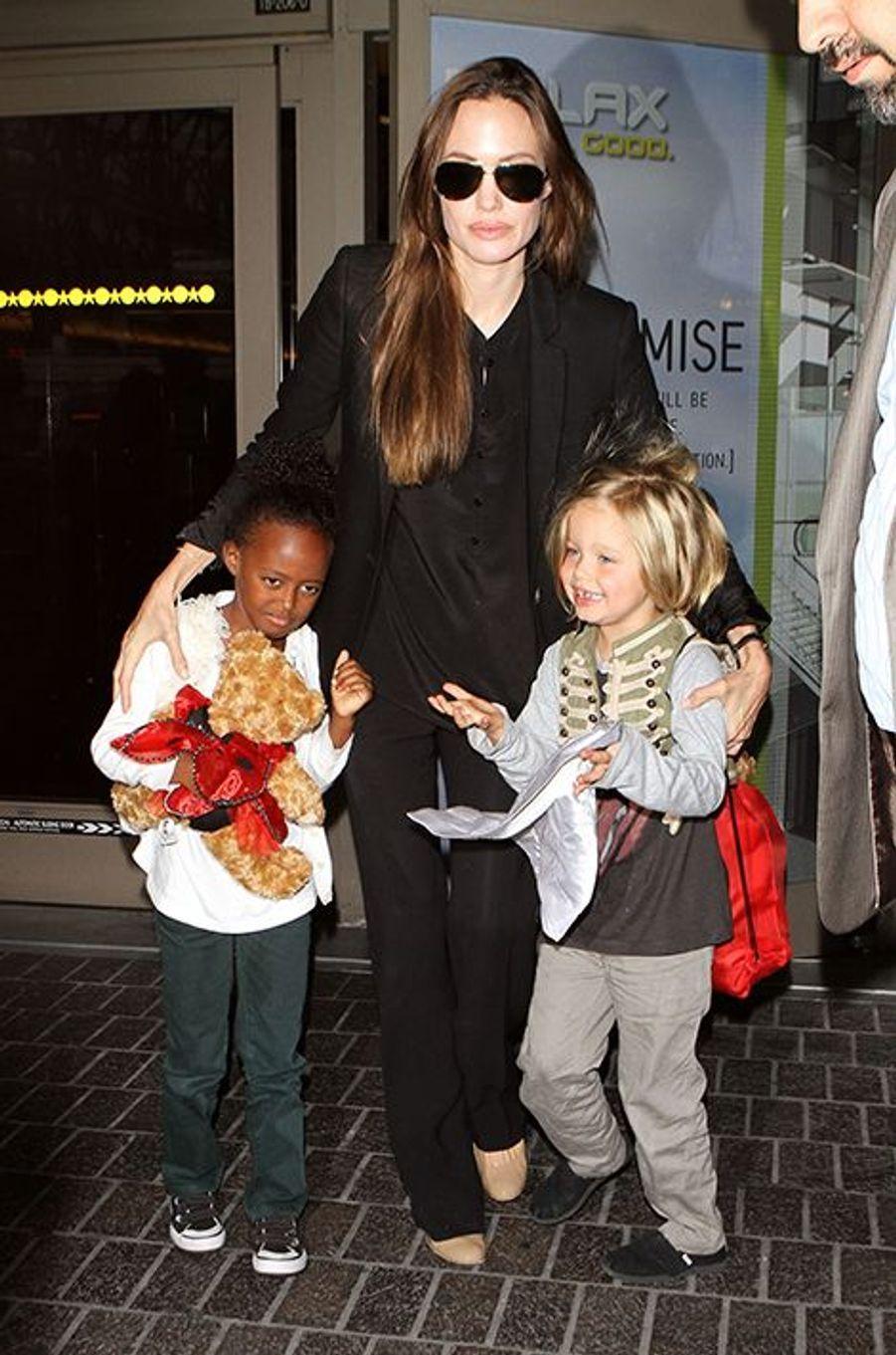 Avec Zahara et Shiloh à Los Angeles en juillet 2011