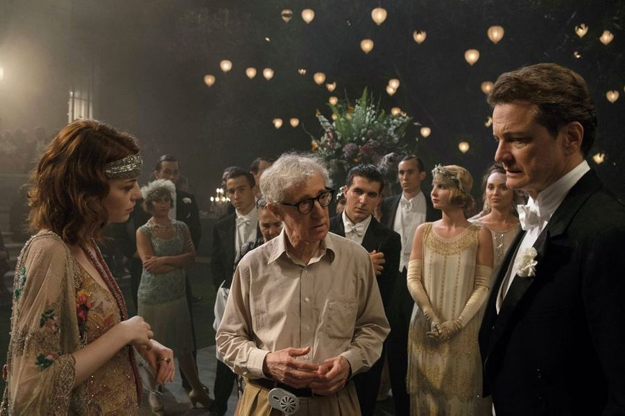 "Sur le tournage de ""Magic in the Moonlight"" avec Emma Stone et Colin Firth, 2014"