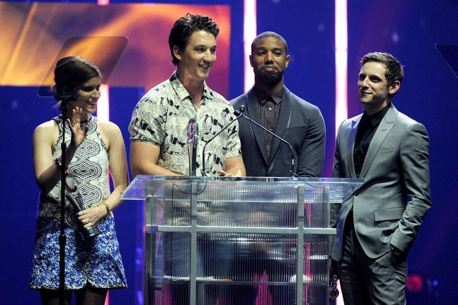 Miles Teller, Kate Mara, Jamie Bell et Michael B. Jordan à Las Vegas le 23 avril 2015