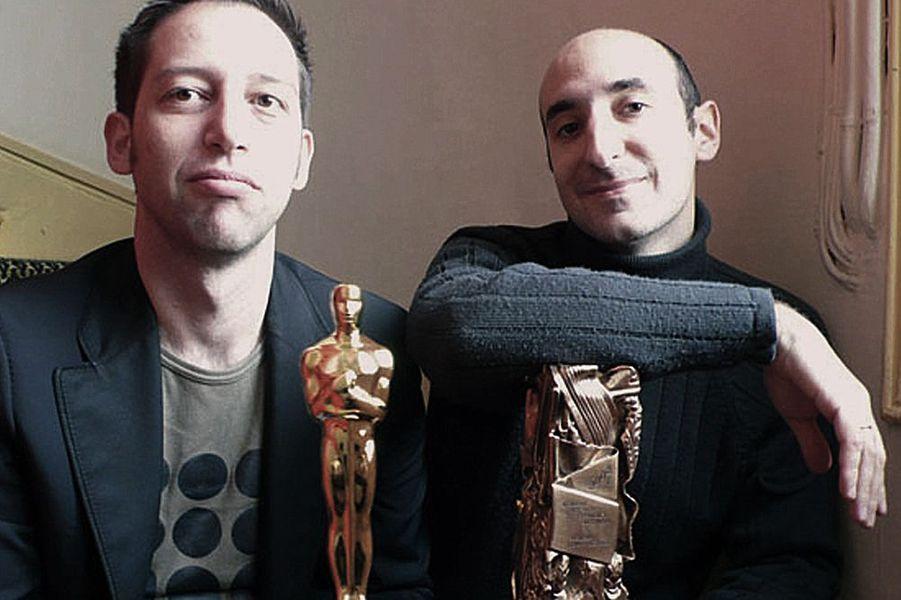Antoine Rein et Fabrice Goldstein avec l'Oscar et le César du Meilleur court-métrage, 2008