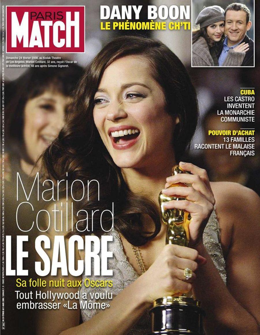 """En Une de Paris Match """"Le sacre de Marion Cotillard"""", février 2008"""