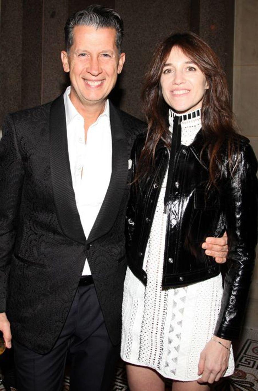Stefano Tonchi et Charlotte Gainsbourg à New York le 4 novembre 2014