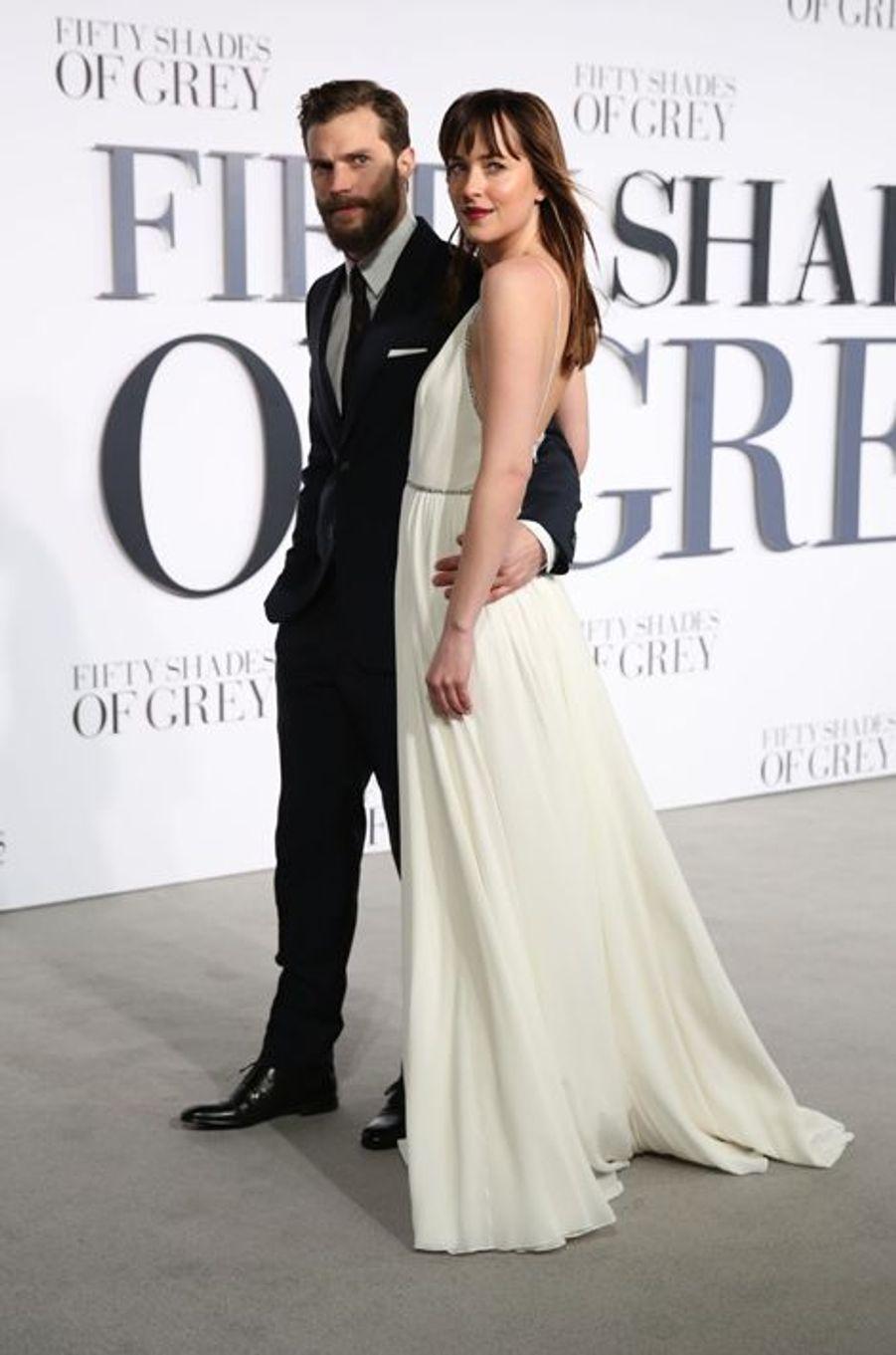 Jamie Dornan et Dakota Johnson à Londres le 12 février 2015