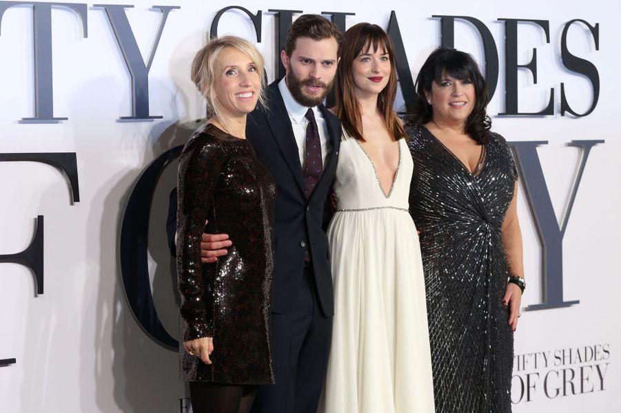 Sam Taylor-Wood, Jamie Dornan, Dakota Johnson et E.L. James à Londres le 12 février 2015