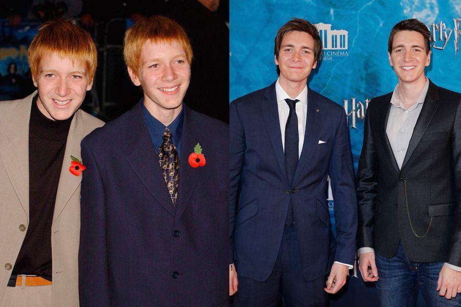 C'est à 14 ans que les jumeaux anglais auditionnent pour le premier volet de la saga. Ils interprèteront finalement les rôles de Fred et George Weasley, grands frères délurés de Ron. Aujourd'hui âgés de 29 ans, ils étaient de passage à la Cité du Cinéma ce mois d'avril, pour l'avant-première de la nouvelle exposition «Harry Potter».