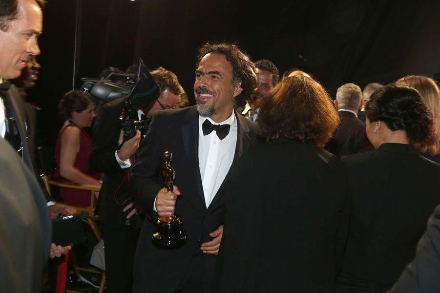 Alejandro González Iñárritu dans les coulisses des Oscars, à Los Angeles le 22 février 2015