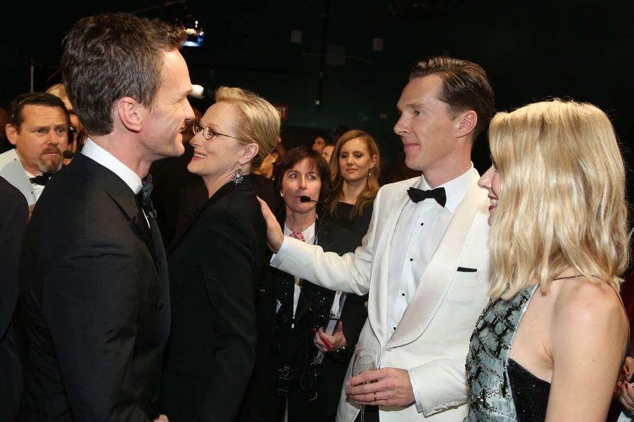 Neil Patrick Harris, Benedict Cumberbatch et Naomi Watts dans les coulisses des Oscars, à Los Angeles le 22 février 2015
