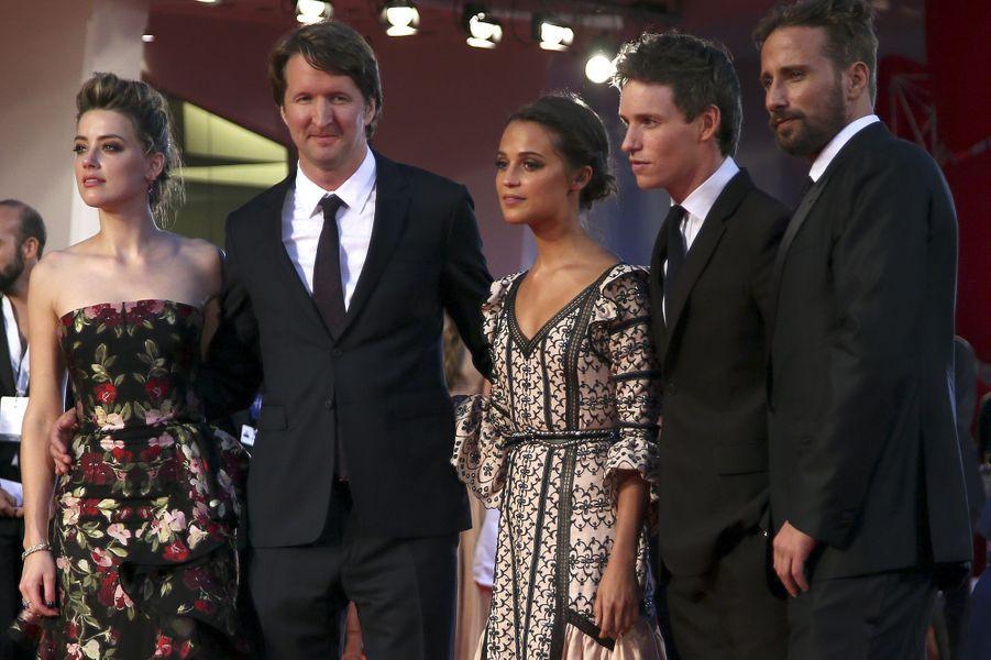 """L'équipe de """"The Danish Girl"""" au complet, à Venise, le 5 septembre 2015"""
