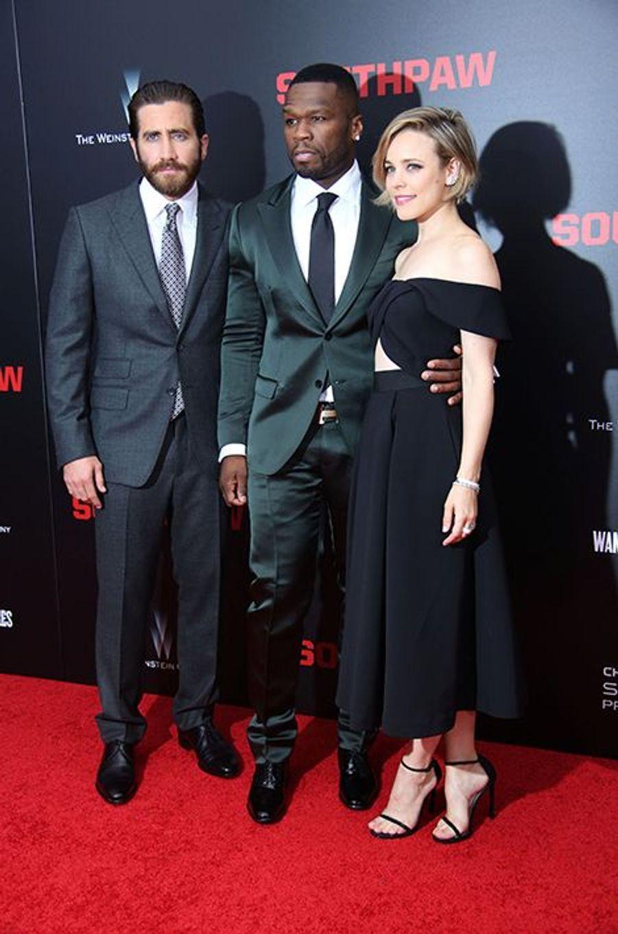 Jake Gyllenhaal, 50 Cent et Rachel McAdams à New York le 20 juillet 2015