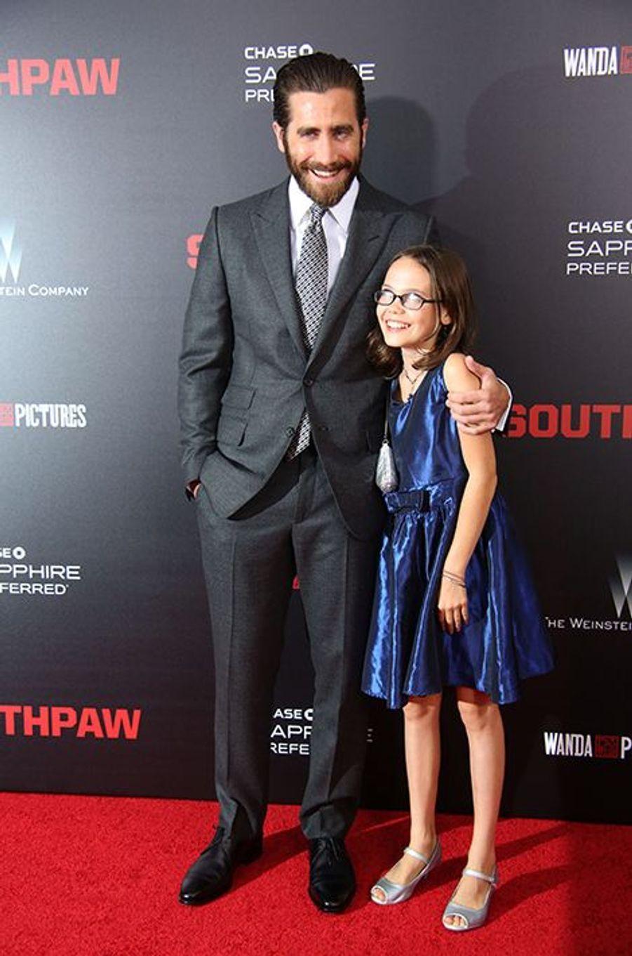 Jake Gyllenhaal et Oona Laurence à New York le 20 juillet 2015