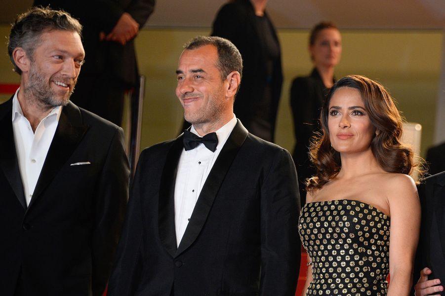 Vincent Cassel, Matteo Garrone et Salma Hayek à Cannes le 14 mai 2015