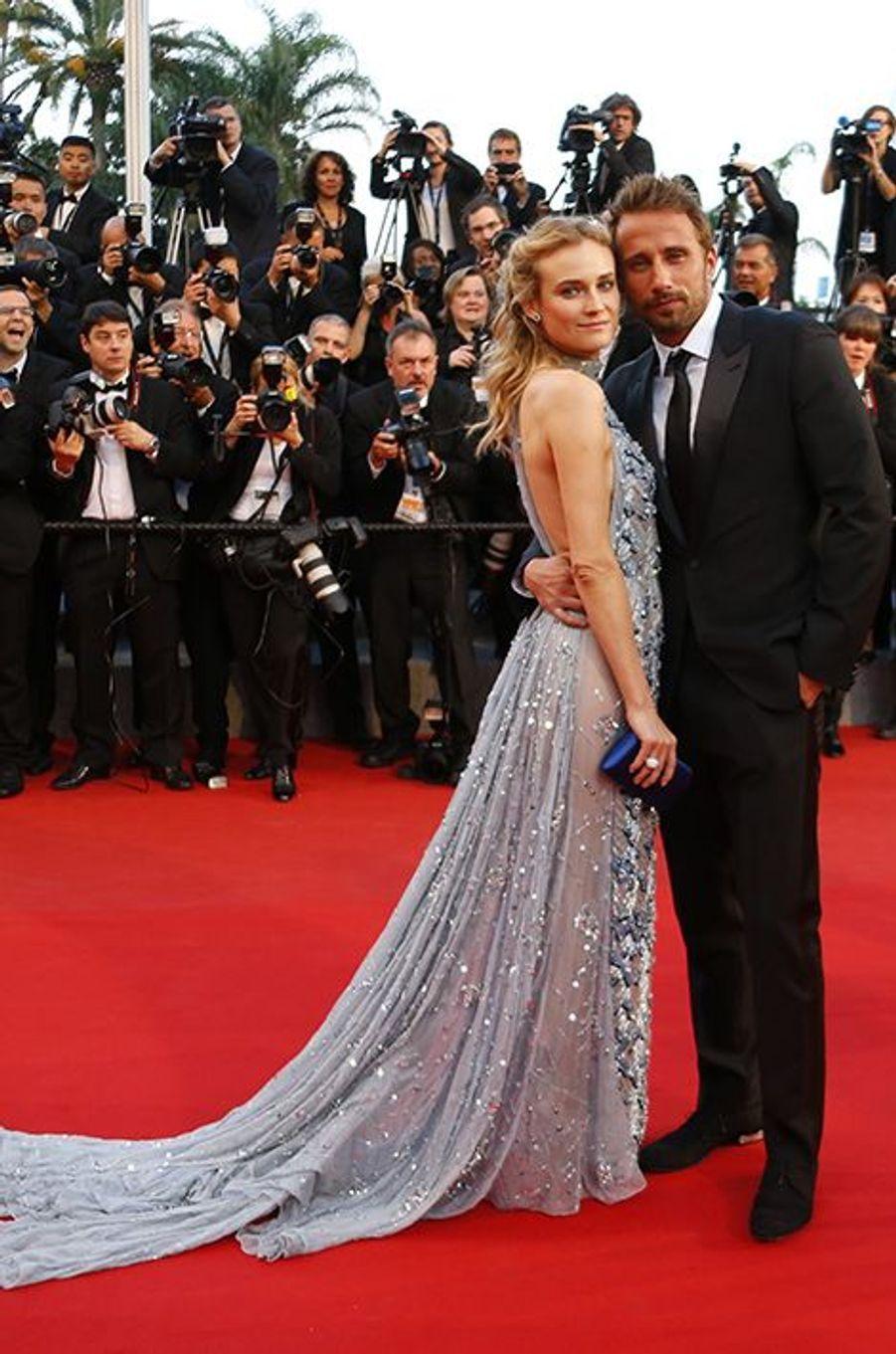 Diane Kruger, en Prada, et Matthias Schoenaerts à Cannes le 16 mai 2015