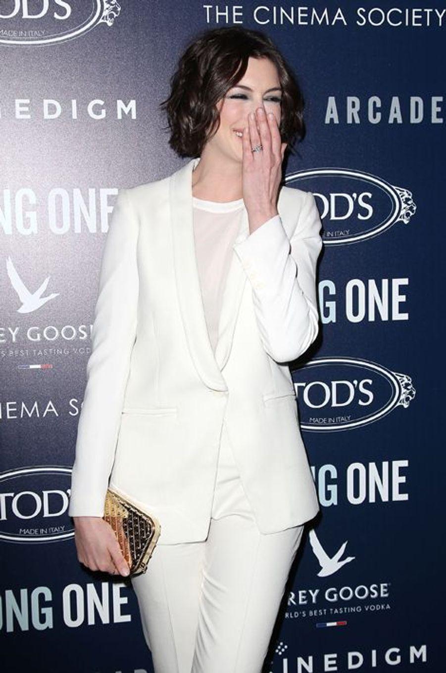Anne Hathaway à New York le 20 janvier 2015