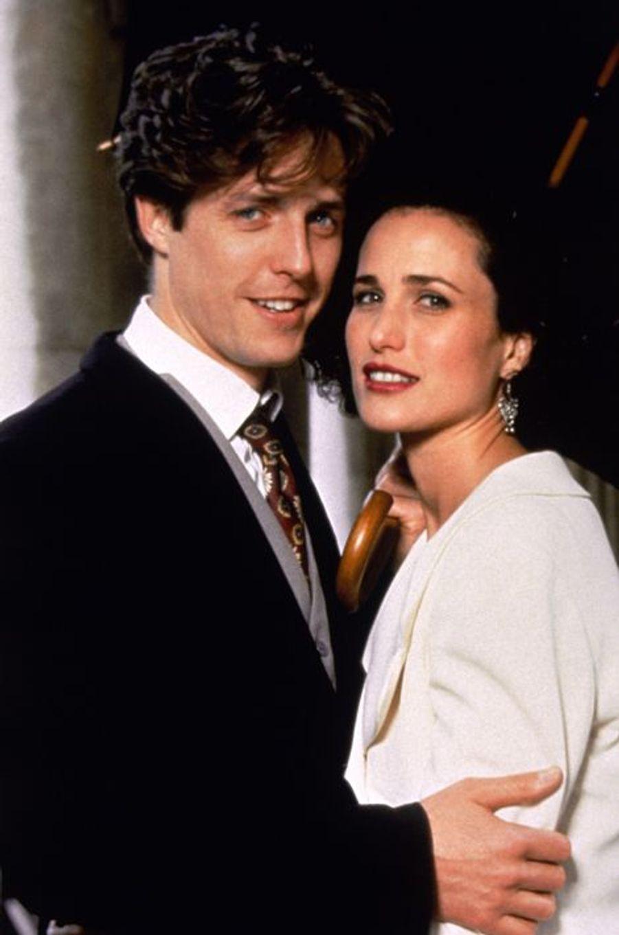 """Avec Andy MacDowell dans """"Quatre mariages et un enterrement"""" (1994)"""