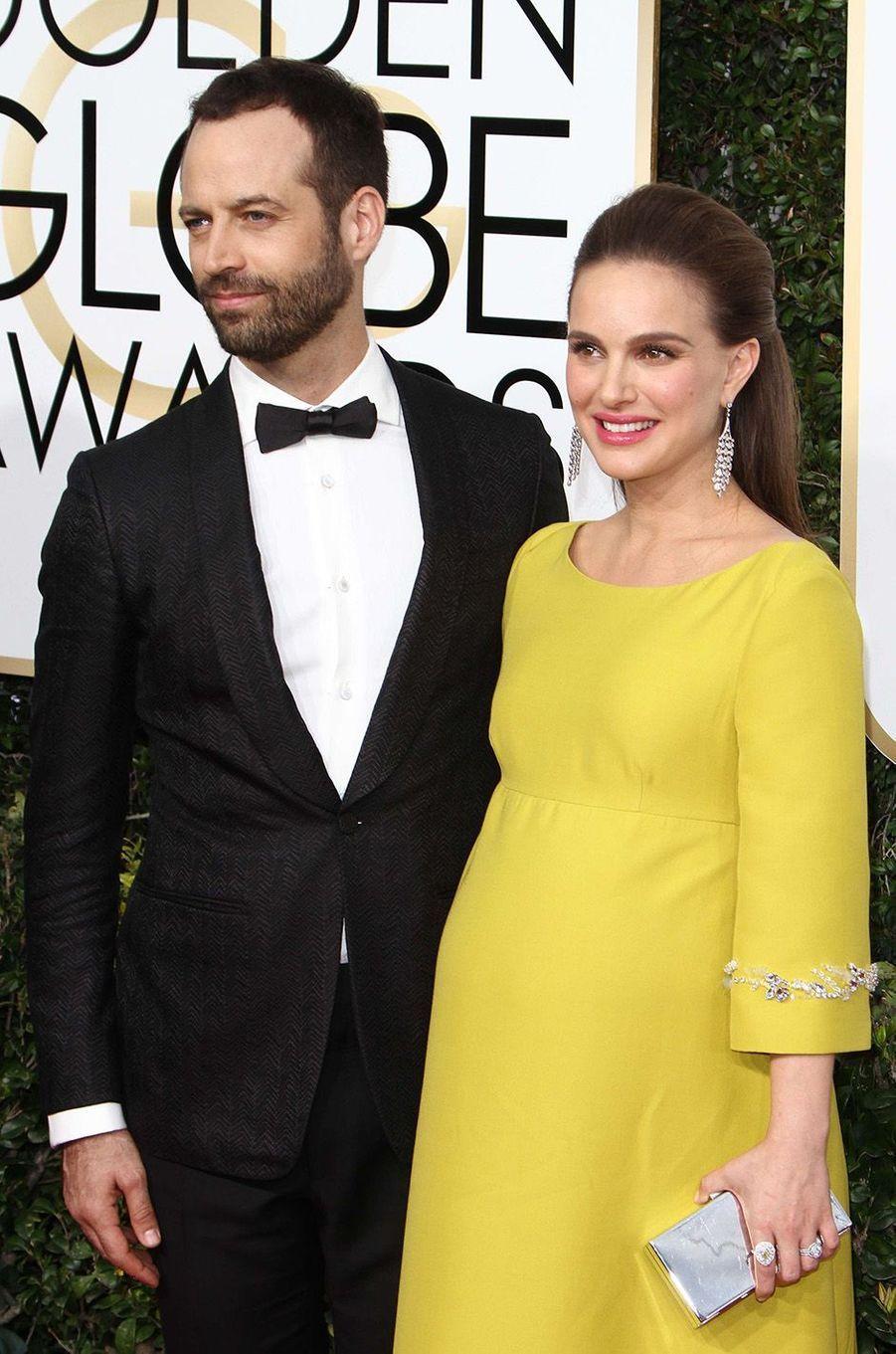 Natalie Portman enceinte et Benjamin Millepied à la 74e cérémonie des Golden Globes, janvier 2017.