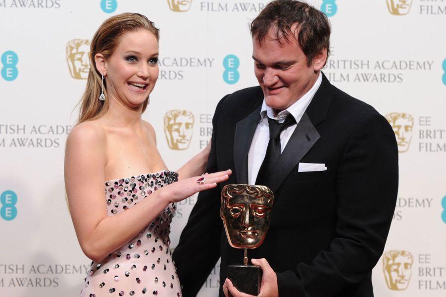 Jennifer Lawrence et Quentin Tarantino aux British Academy Film Awards en février 2013