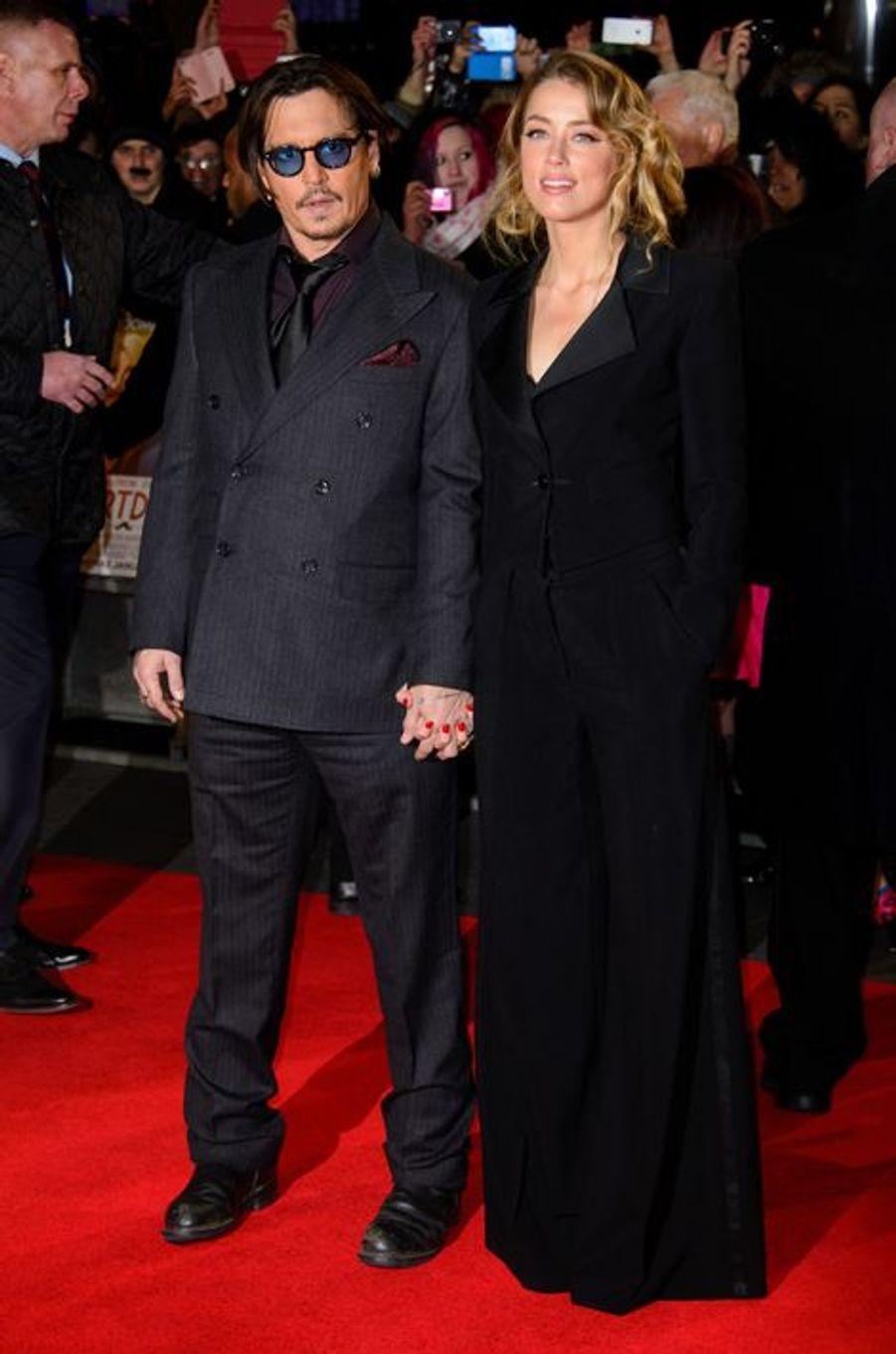 Johnny Depp et Amber Heard à Londres le 19 janvier 2015