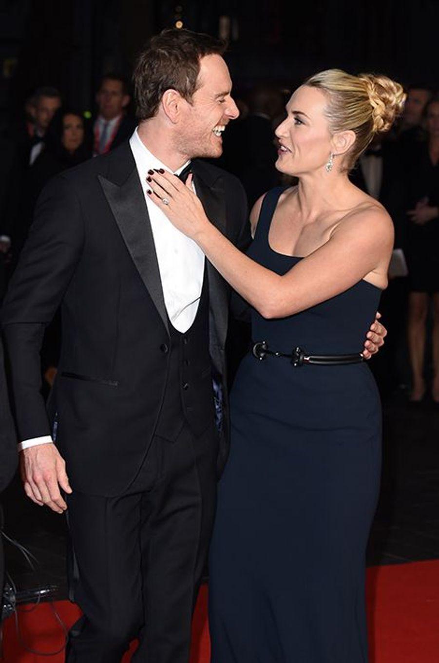 Kate Winslet et Michael Fassbender à Londres le 18 octobre 2015