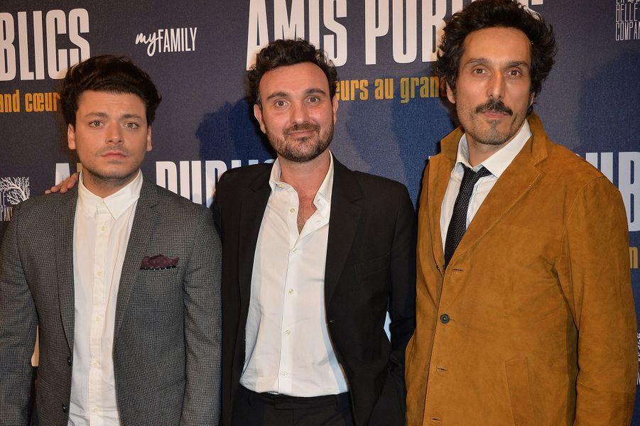 Kev Adams, Edouard Pluvieux et Vincent Elbaz à Paris le 1er février 2016