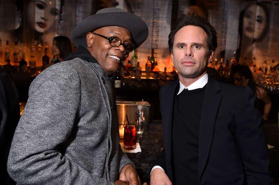 Samuel L. Jackson et Walton Goggins à New York le 4 janvier 2016