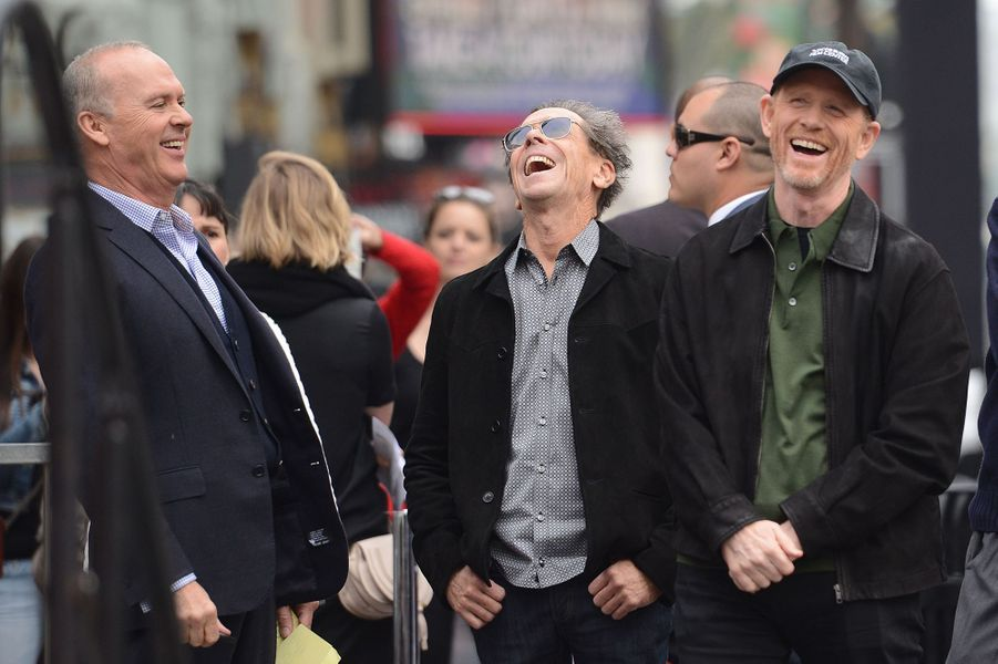 Michael Keaton, Brian Grazer et Ron Howard à Los Angeles le 10 décembre 2015