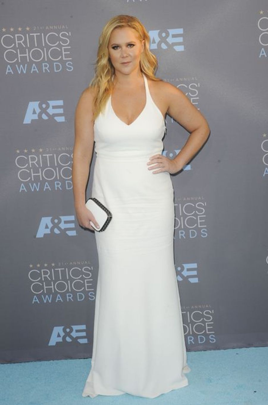 Amy Schumer (en robe Calvin Klein)