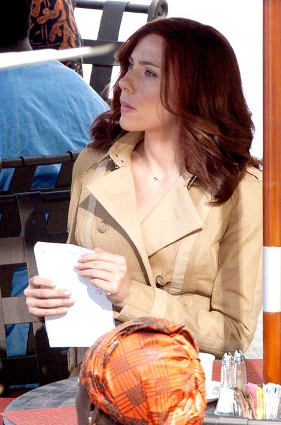 Scarlett Johansson sur le tournage du film à Atlanta le 14 mai 2015