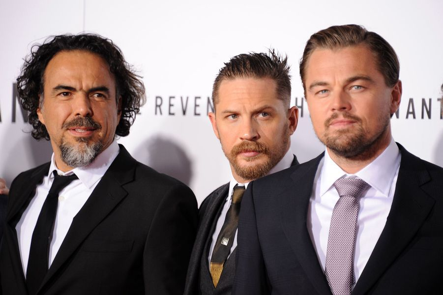 Alejandro González Iñárritu, Tom Hardy et Leonardo DiCaprio à Los Angeles le 16 décembre 2015