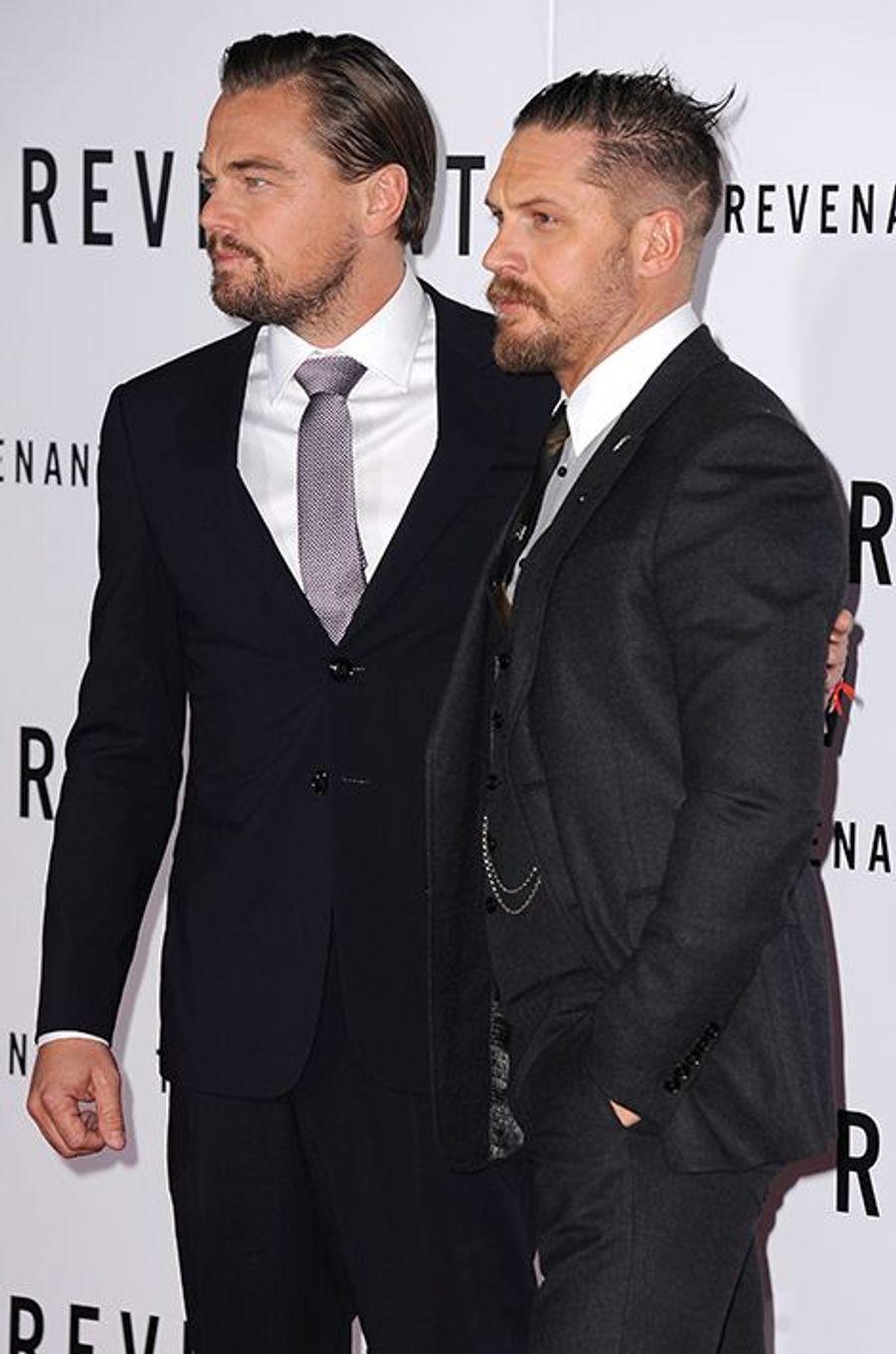 Leonardo DiCaprio et Tom Hardy à Los Angeles le 16 décembre 2015