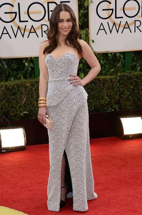 Emilia Clarke en Proenza Schouler aux Golden Globes, en janvier 2014