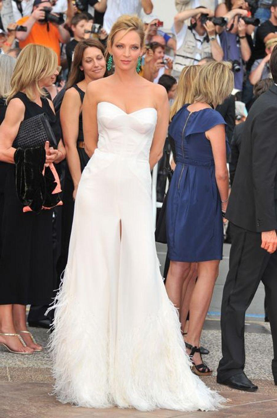 Uma Thurman en Versace au Festival de Cannes, en mai 2011