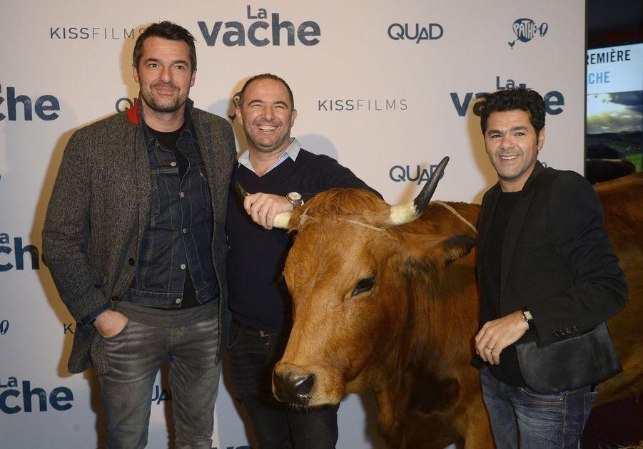 Arnaud Ducret, Mohamed Hamidi et Jamel Debbouze à Paris le 14 février 2016