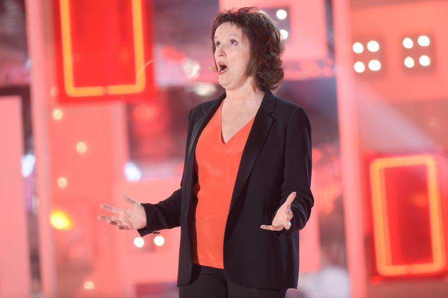 """Anne Roumanoff lors de l'enregistrement de """"Vivement Dimanche"""" Miou-Miou, le 4 février 2015"""