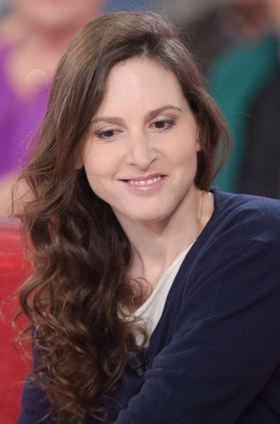 """Justine Lévy lors de l'enregistrement de """"Vivement Dimanche"""" Miou-Miou, le 4 février 2015"""