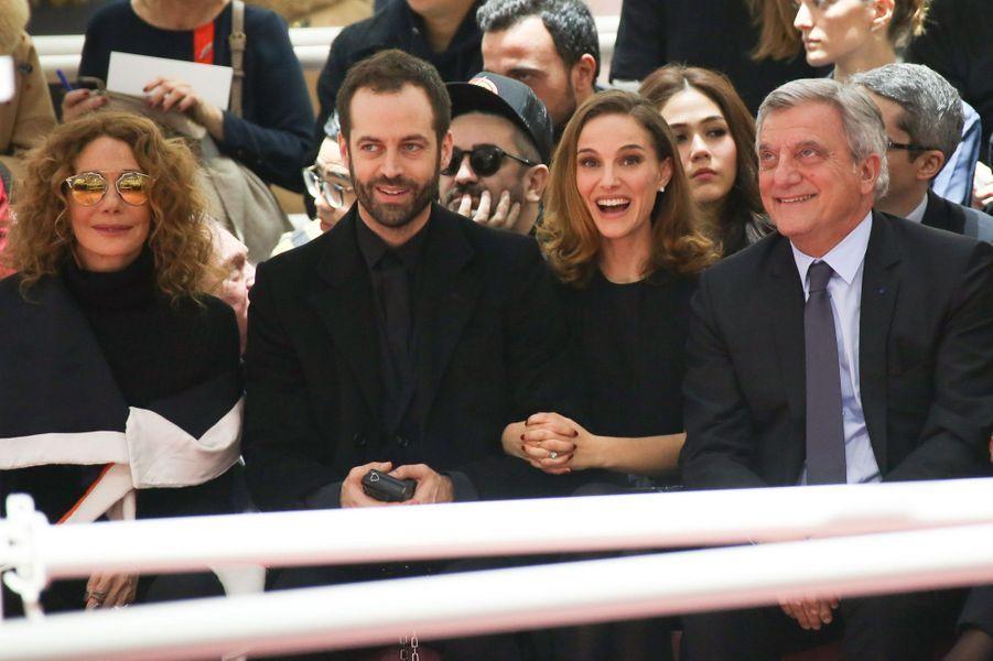 Marisa Berenson, Benjamin Millepied, Natalie Portman et Sidney Toledano à Paris le 26 janvier 2015