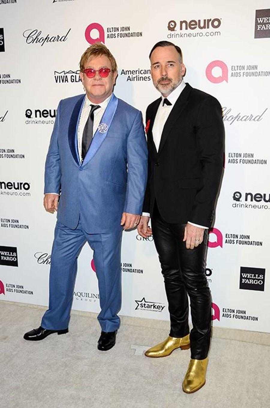 Elton John et David Furnish à Los Angeles le 22 février 2015