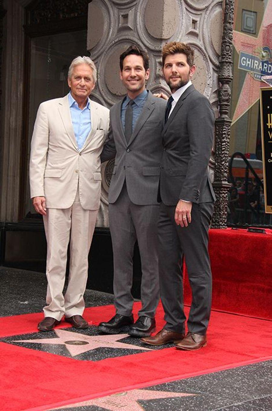 Michael Douglas, Paul Rudd et Adam Scott à Los Angeles le 1er juillet 2015