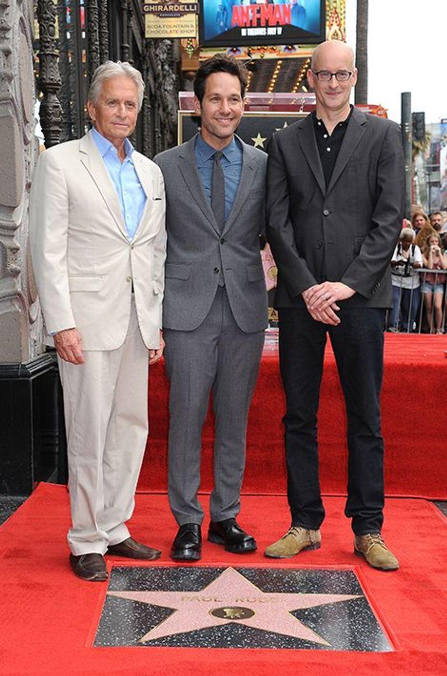 Michael Douglas, Paul Rudd et Peyton Reed à Los Angeles le 1er juillet 2015
