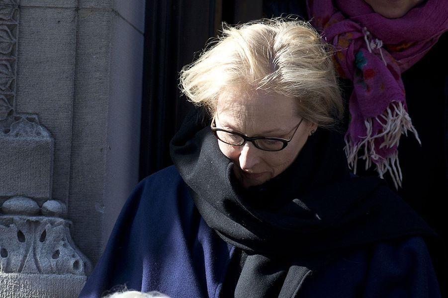 Meryl Streep, émue. Elle fut la partenaire à l'écran de Philip Seymour Hoffman dans l'intense «Doute» en 2008.