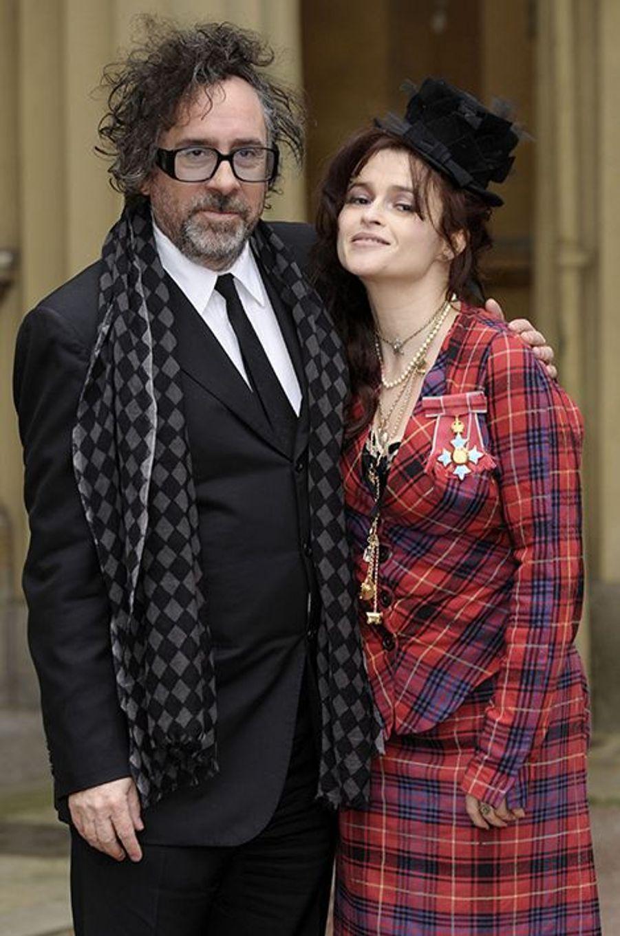 À Buckingham Palace, le 22 février 2012. Helena Bonham Carter, honorée, avait reçu le grade de Commandeur de l'Ordre de l'Empire Britannique