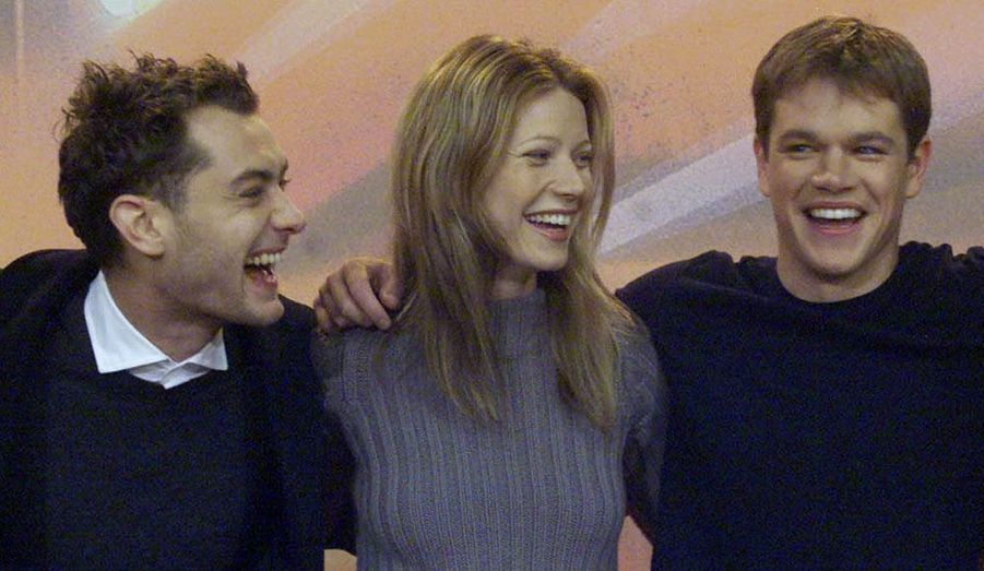 """Matt Damon partage en 1999 l'affiche du """"Talentueux M. Ripley"""" (dans lequel il joue le rôle titre) avec Jude Law et Gwyneth Paltrow."""